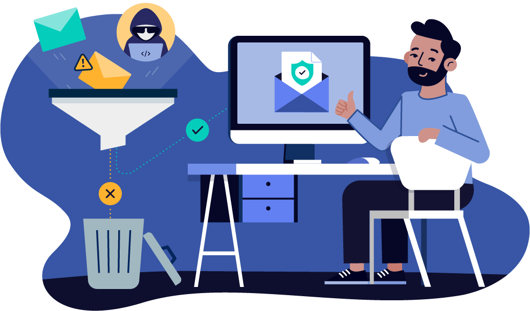illustrated scene displaying a user with secure email powerdmarc