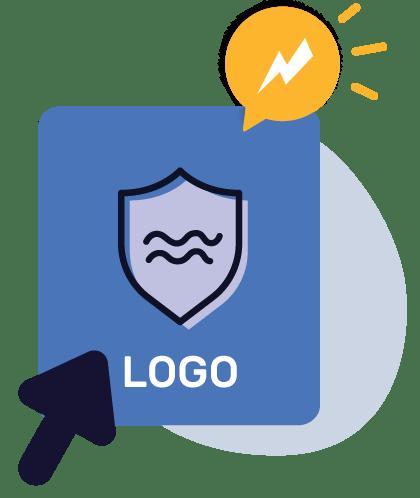 бими-логотип синий одним щелчком мыши